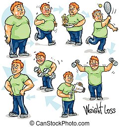 Man achieving his Weight-Loss goal. Hand drawn funny cartoon...
