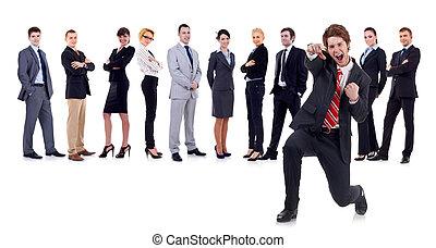man, achter, vrolijke , handel team