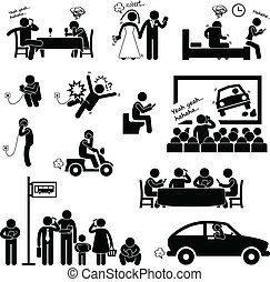 Man Addiction Obsession Smartphone - A set of pictograms ...
