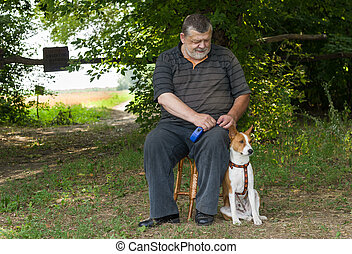 Man admiring his basenji dog while sitting on a stool next to his four-legged friend in summer park