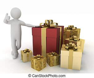 Man advertises gifts to the holiday. 3d illustration