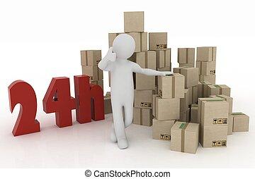 man, advertises, service, av, leverans, av, paket, in, den,...