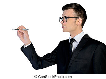 man, affär, skrift