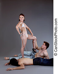 Man afraid happy woman violence - sexual games