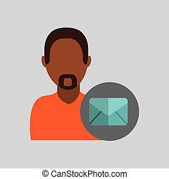 man african email message icon design graphic isolated
