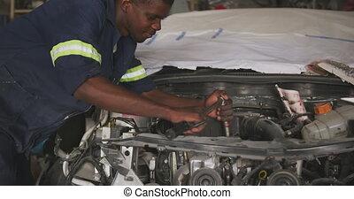 man, afrikaan, herstelling, auto