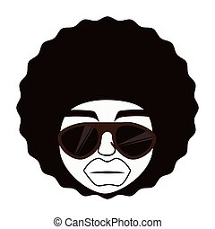 Man afro glasses cartoon ,