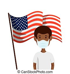 man afro using face mask with flag usa
