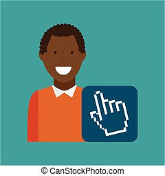 man afroamerican using laptop cursor media icon