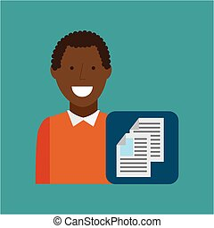 man afroamerican using laptop document media icon
