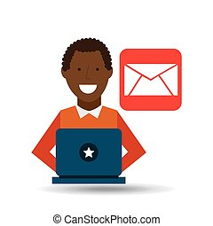 man afroamerican using laptop email media icon
