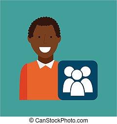 man afroamerican using laptop gro media icon vector...