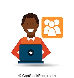 man afroamerican using laptop gro media icon