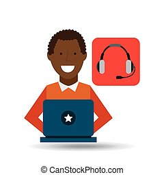 man afroamerican using laptop heatset media icon