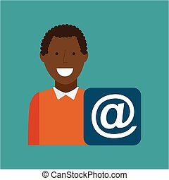 man afroamerican using laptop mail media icon
