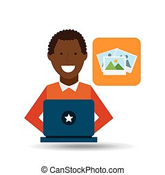 man afroamerican using laptop picture icon
