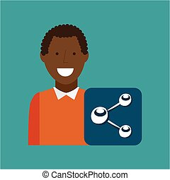 man afroamerican using laptop share media icon