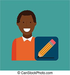 man afroamerican using laptop write icon - man afroamerican...