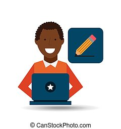 man afroamerican using laptop write icon