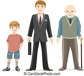 Man age progress. Old and adult, male young, age man. Vector...