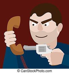 Man aim gun to handset cartoon vector illustration