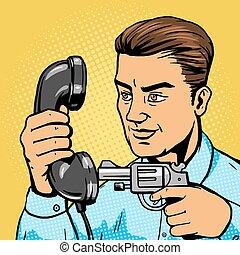 Man aim gun to handset pop art vector illustration