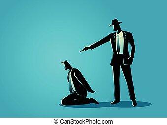 Man aiming a gun to the kneeling man's head