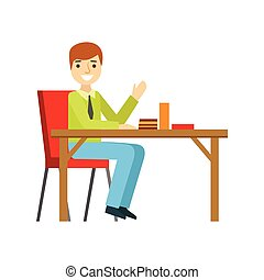 Man Alone At The Table Eating Cake, Smiling Person Having A Dessert In Sweet Pastry Cafe Vector Illustration
