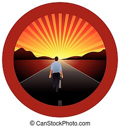 Man alone walking towards the horizon on a road with red round frame - Vector image