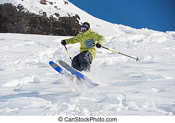 Man amazingly skiing in beautiful Gudauri, Georgia - Skier...