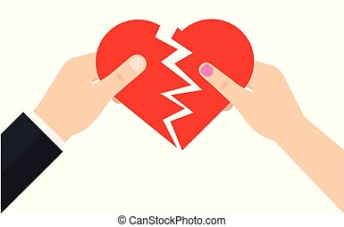 Man and a female are holding two half of a broken heart