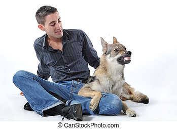 man and angry wolf
