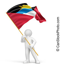 Man and Antigua and Barbuda flag. Image with clipping path