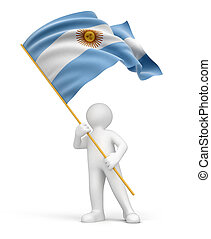 Man and Argentina flag. Image with clipping path
