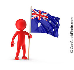 Man and Australian flag