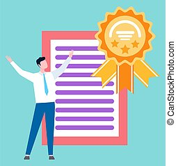 Man and Award Certificate Diploma Business Degree