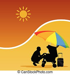 man and baby on the beach vector