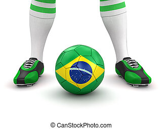 Man and soccer ball with Brazilian flag. Image with clipping path