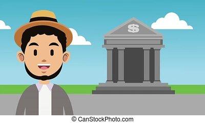 Man and bank HD animation - Young man at bank building...