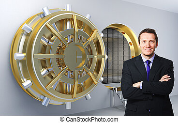 man and bank - smiling businessman and 3d vault background
