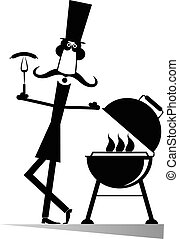 Man and barbecue isolated
