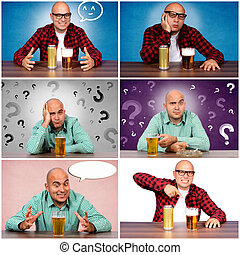 Man and beer - Bald guy with the beer collage