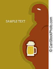 Man and beer. Vector poster