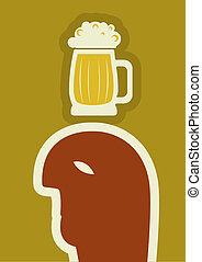 Vector drunk man drinking beer .Human symbol of alcohol