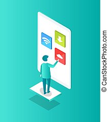 Man and Big Touchscreen Icon Vector Illustration