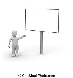 Man and billboard