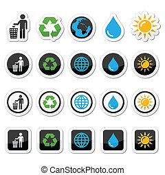 Man and bin, recycling, globe