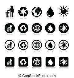 Man and bin, recycling, globe, eco