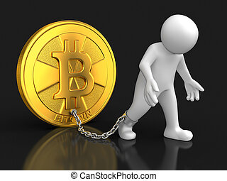 Man and Bitcoin. Image with clipping path