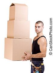 man and box